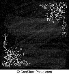 Black chalk board floral vector background