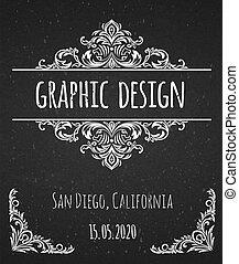 Black chalk board template vintage frame