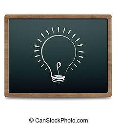 Black Chalk Board With Bulb Drawing Chalk