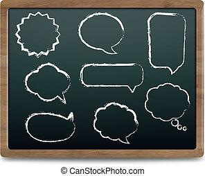 Black Chalk Board With Speech Bubble Set