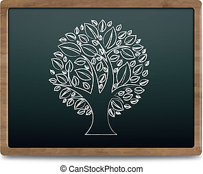 Black Chalk Board With Tree