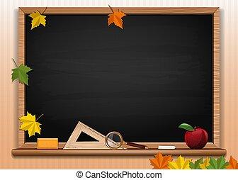 Black chalkboard background. Back to school card