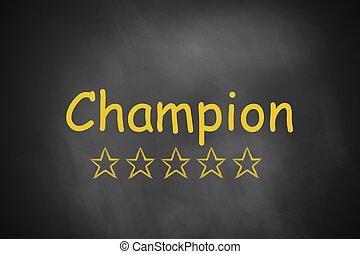 black chalkboard champion golden stars