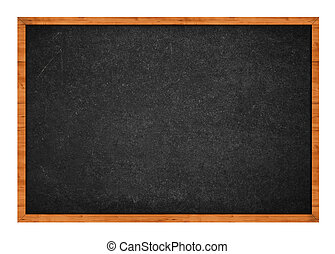 Grungy black chalkboard with wooden frame isolated on white background