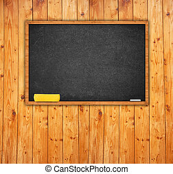 Black chalkboard in classroom