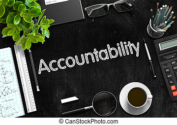 Black Chalkboard with Accountability Concept. 3D Rendering...