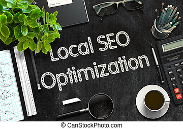 Black Chalkboard with Local SEO Optimization. 3D Rendering....
