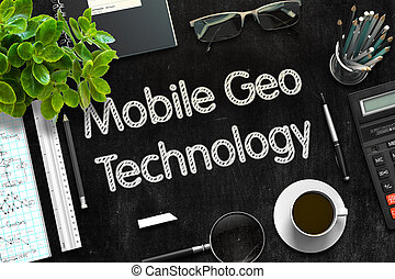 Black Chalkboard with Mobile Geo Technology. 3D Rendering. -...