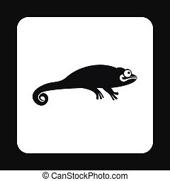 Black chameleon icon, simple style