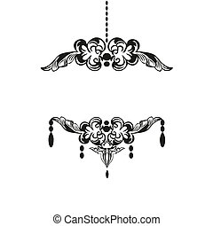 Black chandelier silhouette with candles with place for your text, isolated on white