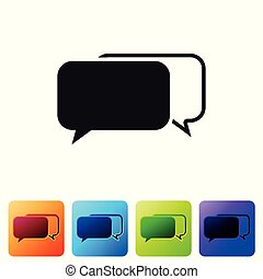 Black Chat icon isolated on white background. Speech bubbles symbol. Set icon in color square buttons. Vector Illustration