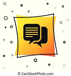Black Chat icon isolated on white background. Speech bubbles symbol. Yellow square button. Vector Illustration