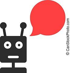 black , chatbot, met, tekstballonetje