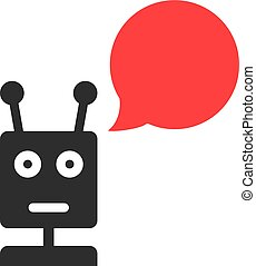 black chatbot with speech bubble