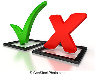 Accept and Decline - Black Check Mark and Cross IN red check...