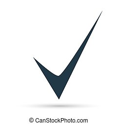 Black check mark icon. Tick symbol in black color