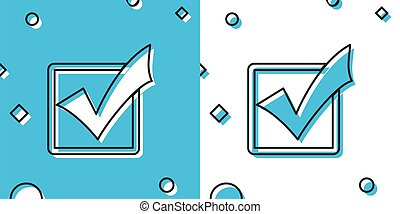 Black Check mark in a box icon isolated on blue and white background. Tick symbol. Check list button sign. Random dynamic shapes. Vector Illustration
