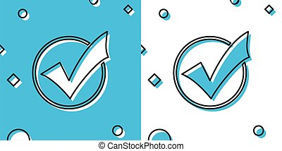 Black Check mark in round icon isolated on blue and white background. Check list button sign. Random dynamic shapes. Vector Illustration