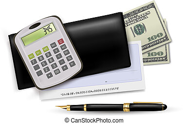 Black checkbook with check, calculator and dollars. Vector...