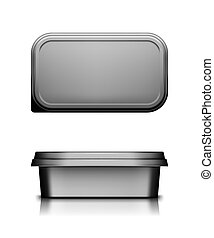 Black cheese, butter or margarine container with lid mockup - front and top view. Blank plastic food package: cream, yogurt, dessert, spread. Product template. Isolated 3d vector illustration