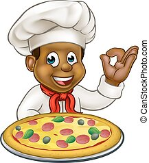 Black Chef Cartoon Character Mascot