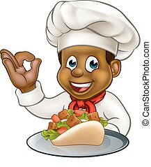 Black Chef Holding Kebab - Black chef cartoon character...