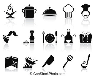 black chef icons set - isolated black chef icons set from...