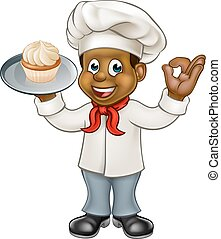 Black Chef or Baker Cartoon