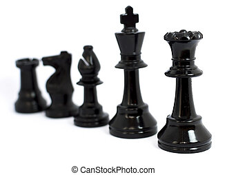 Black chess isolated white background