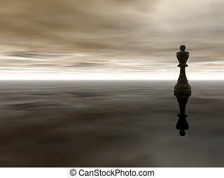 chess king - black chess king on cloudy stormy background -...