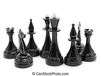 black chess pieces on white background - black chess pieces...
