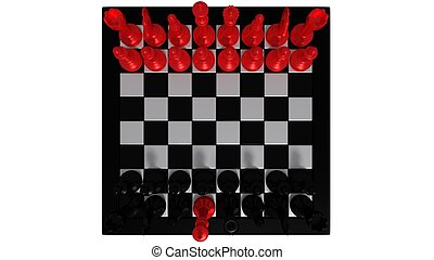 black chess pieces with red king 3d Illustration
