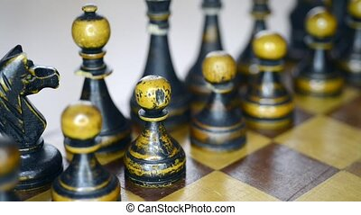 black chess set up