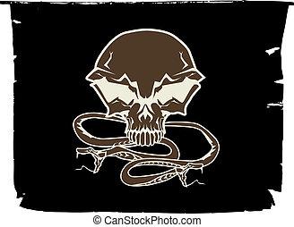 stylized human skull - Black chevron with stylized human...