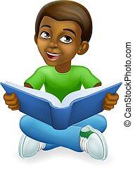Black Child Boy Cartoon Kid Reading Book