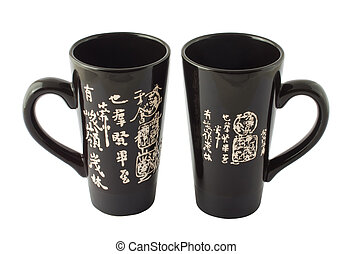 Black chinese cups for tea
