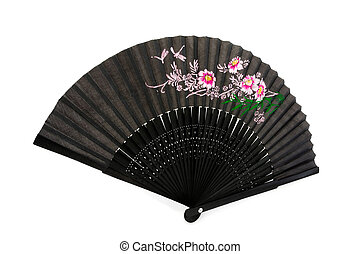 Black chinese hand fan over white