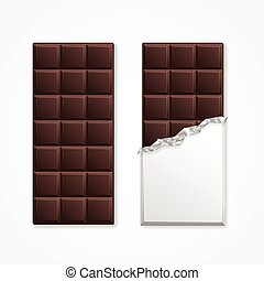 Black Chocolate Package Bar Blank. Vector