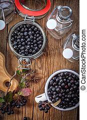 Black chokeberry. - Fruits of black chokeberry prepared for ...