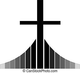 Black Christian cross standing on the Golgotha vector illustration, symbol of a Christian church