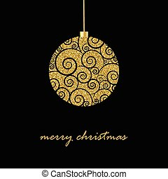 Black Christmas background with glitter gold Christmas ball...