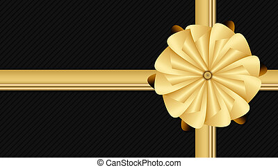 black christmas background with golden bow gift looking