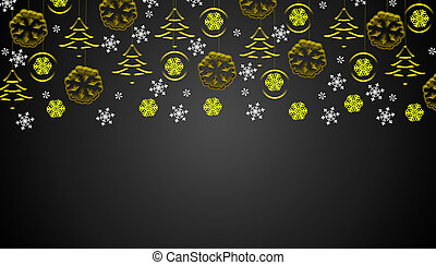 Black christmas background with golden hanging ornaments and snowflakes