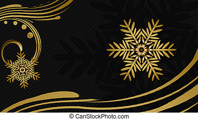 black christmas background with golden ornaments and snowflakes gift looking