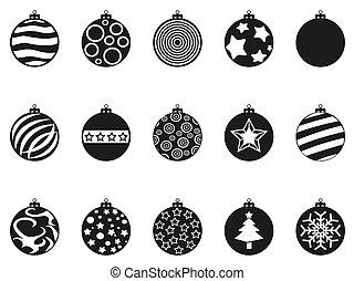 black Christmas ball icons set
