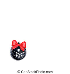 black Christmas ball isolated on white background with pink bow space for text