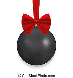 Christmas ball with ribbon and a bow
