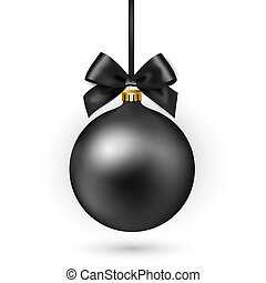 Black Christmas ball with ribbon and bow on white background. Vector illustration.
