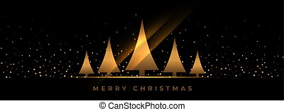 black christmas banner with golden tree design