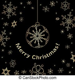 black christmas card with gold decorations - vector